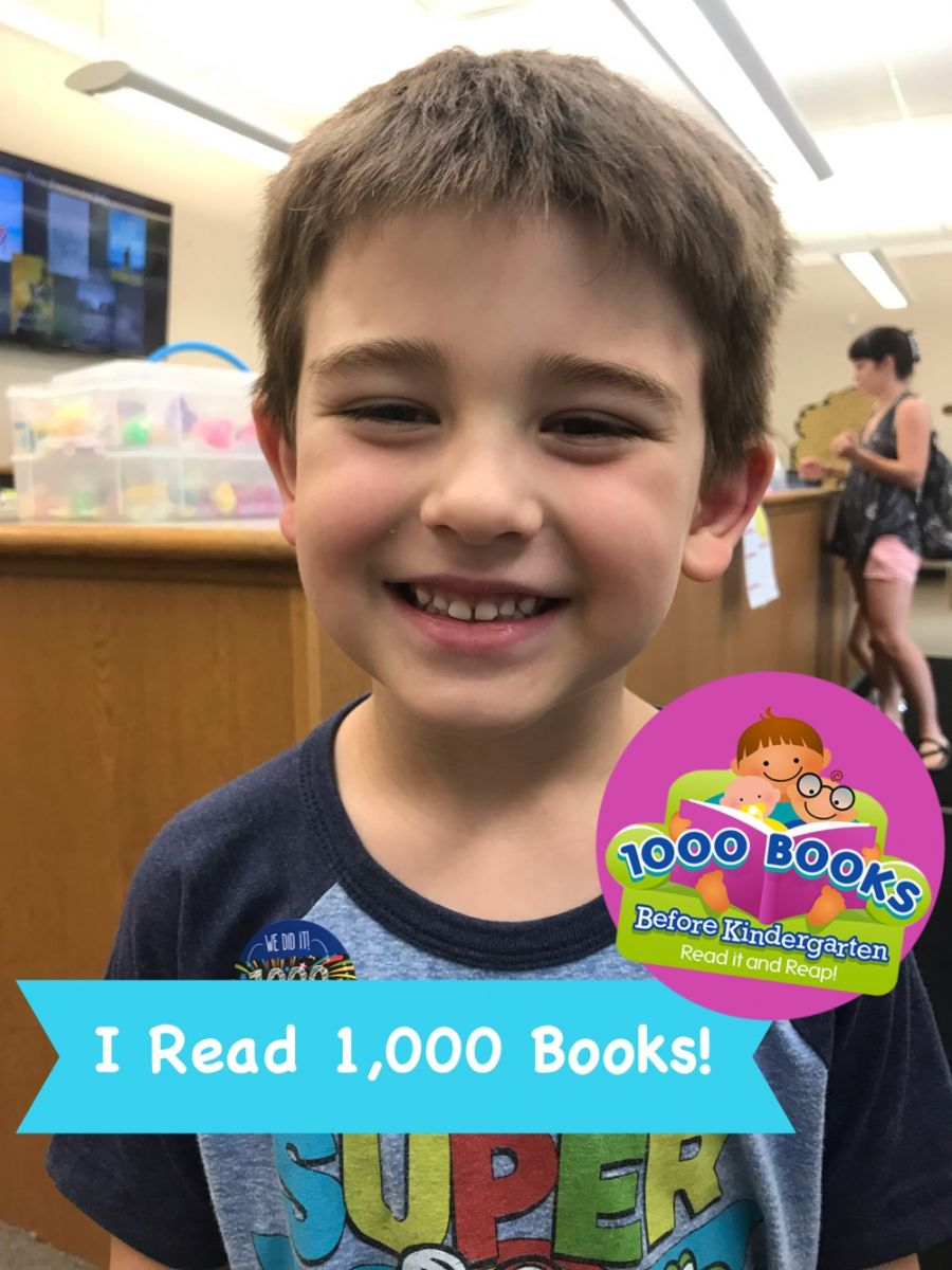 Photo of child completing 1000 Books Before Kindergarten